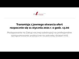 Transmisja z jawnego otwarcia ofert 11.01.2021 r. g. 13.00