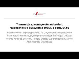 Transmisja z jawnego otwarcia ofert 25.01.2021 g. 13.00