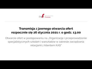Transmisja z jawnego otwarcia ofert 26.01.2021 g.13.00