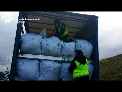 Nielegalny transport 20 ton odpadów zatrzymany przez KAS na A4 (audiodeskrypcja)